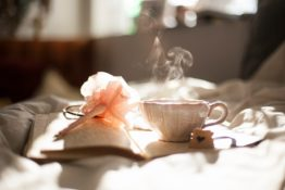 Tea cup, book and a flower